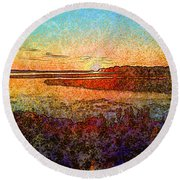 Georgian Bay Sunset Round Beach Towel by Claire Bull