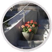 Geraniums Look Better In Beaufort Round Beach Towel by Patricia Greer