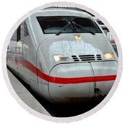German Ice Intercity Bullet Train Munich Germany Round Beach Towel