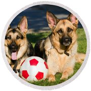 Round Beach Towel featuring the photograph German Shepherd Sisters by Eleanor Abramson