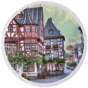 German Village Along Rhine River Round Beach Towel