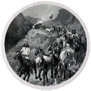 Geronimo And His Band Returning From A Raid Into Mexico Round Beach Towel