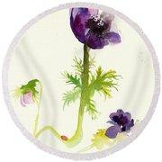 Gesture Anemone Watercolor - Purple Blue Anemone Watercolor Painting Round Beach Towel