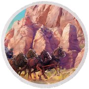 Round Beach Towel featuring the painting Gett'en Through by Rob Corsetti