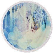 Round Beach Towel featuring the painting Ghost Forest by Teresa Ascone