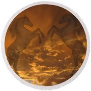 Ghost Horses At Sunset Round Beach Towel