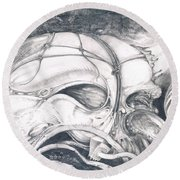 Round Beach Towel featuring the drawing Ghost In The Machine by Otto Rapp