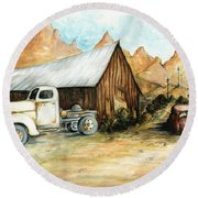 Ghost Town Nevada - Watercolor Art Round Beach Towel by Art America Gallery Peter Potter
