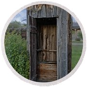 Ghost Town Outhouse - Montana Round Beach Towel