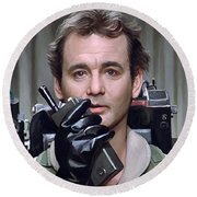 Round Beach Towel featuring the painting Ghostbusters - Bill Murray Artwork 1 by Sheraz A