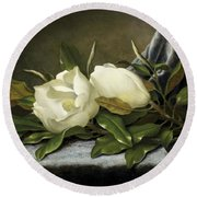 Round Beach Towel featuring the painting Giant Magnolias by Martin Johnson Heade