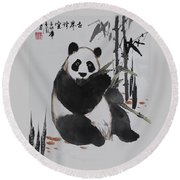 Round Beach Towel featuring the photograph Giant Panda by Yufeng Wang