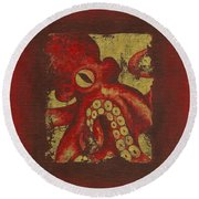 Giant Red Octopus Round Beach Towel