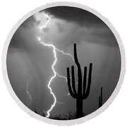 Giant Saguaro Cactus Lightning Strike Bw Round Beach Towel