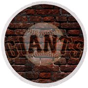 Giants Baseball Graffiti On Brick  Round Beach Towel
