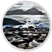 Giant's Causeway Sunset Round Beach Towel