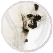 Crested Gibbon #1 Round Beach Towel by Nola Lee Kelsey