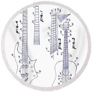 Gibson Guitar Patent Blueprint Round Beach Towel