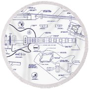 Gibson Les Paul Blueprint Drawing Round Beach Towel