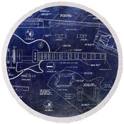 Gibson Les Paul Blueprint Round Beach Towel