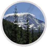 Gifford Pinchot National Forest And Mt. Adams Round Beach Towel by Tikvah's Hope