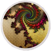 Gilded Fractal 10  Round Beach Towel