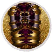 Gilded Fractal 11  Round Beach Towel