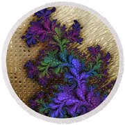 Gilded Fractal 12  Round Beach Towel