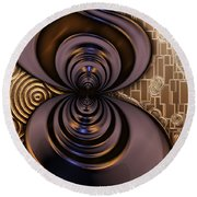Gilded Fractal 2 Round Beach Towel