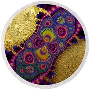 Gilded Fractal 3  Round Beach Towel