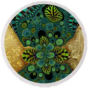 Gilded Fractal 5  Round Beach Towel