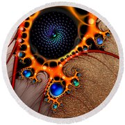 Gilded Fractal 7  Round Beach Towel
