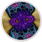 Gilded Fractal 8  Round Beach Towel