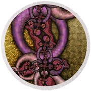 Gilded Fractal 9  Round Beach Towel