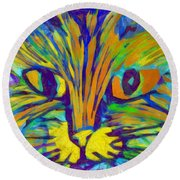 Ginger Kitty Round Beach Towel