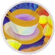 Ginger Lemon Tea By Jrr Round Beach Towel by First Star Art
