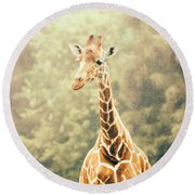 Giraffe In The Rain Round Beach Towel