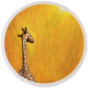 Giraffe Looking Back Round Beach Towel