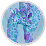 Round Beach Towel featuring the digital art Giraffe Shades  Purple And Aqua by Jane Schnetlage