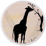 Giraffe Silhouette Painting By Carolyn Bennett Round Beach Towel