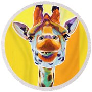Giraffe - Sunflower Round Beach Towel