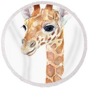 Giraffe Watercolor Round Beach Towel