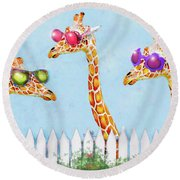 Giraffes In Sunglasses Round Beach Towel