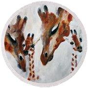 Giraffes - Oh Baby Round Beach Towel
