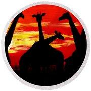 Giraffes Sunset Africa Serengeti Round Beach Towel