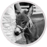 Girl And Baby Donkey Round Beach Towel