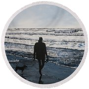 Girl And Dog Walking On The Beach Round Beach Towel