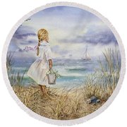 Girl At The Ocean Round Beach Towel
