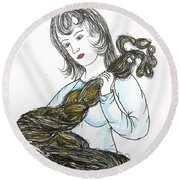 Girl And Tow Round Beach Towel