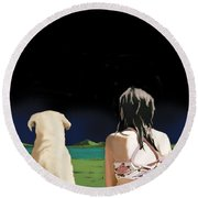 Girl And Yellow Lab Round Beach Towel